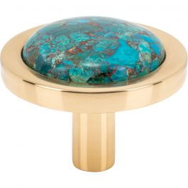 Firesky Mohave Blue Knob 1 9/16 Inch Polished Brass Base