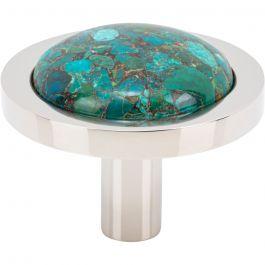 Firesky Mohave Blue Knob 1 9/16 Inch Polished Nickel Base