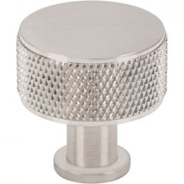 Beliza Cylinder Knurled Knob 1 Inch Brushed Satin Nickel