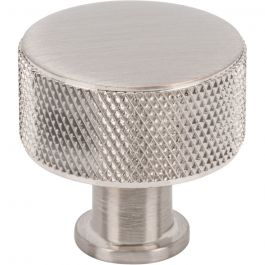 Beliza Cylinder Knurled Knob 1 1/8 Inch Brushed Satin Nickel