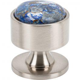 FireSky Mohave Lapis Knob 1 3/8 Inch Brushed Satin Nickel Base
