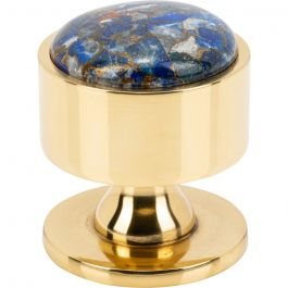 Firesky Mohave Lapis Knob 1 3/8 Inch Polished Brass Base