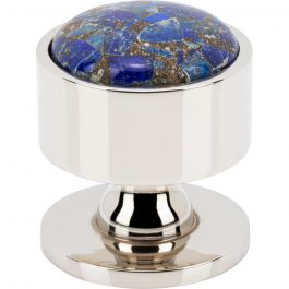 Firesky Mohave Lapis Knob 1 3/8 Inch Polished Nickel Base