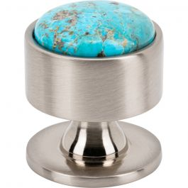 Firesky Mohave Turquoise Knob 1 3/8 Inch Brushed Satin Nickel Base
