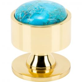 Firesky Mohave Turquoise Knob 1 3/8 Inch Polished Brass Base