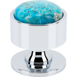 Firesky Mohave Turquoise Knob 1 3/8 Inch Polished Chrome Base