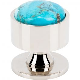 Firesky Mohave Turquoise Knob 1 3/8 Inch Polished Nickel Base