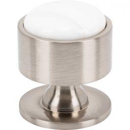 FireSky Calacatta Gold Knob 1 3/8 Inch Brushed Satin Nickel Base