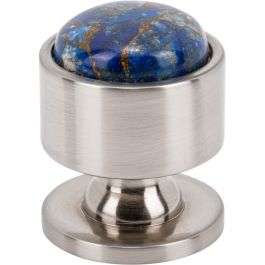 FireSky Mohave Lapis Knob 1 1/8 Inch Brushed Satin Nickel Base