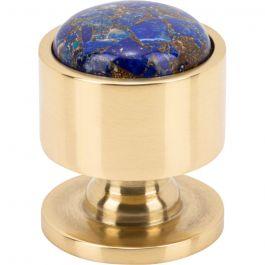 FireSky Mohave Lapis Knob 1 1/8 Inch Polished Brass Base