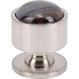 Firesky Iron Tiger Eye Knob 1 1/8 Inch Brushed Satin Nickel Base