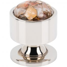FireSky Mohave Yellow Knob 1 1/8 Inch Polished Nickel Base