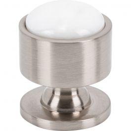 Firesky Carrara White Knob 1 1/8 Inch Brushed Satin Nickel Base