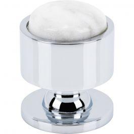 FireSky Carrara White Knob 1 1/8 Inch Polished Chrome Base