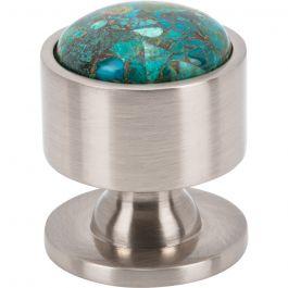 FireSky Mohave Blue Knob 1 1/8 Inch Brushed Satin Nickel Base