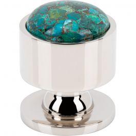 Firesky Mohave Blue Knob 1 1/8 Inch Polished Nickel Base