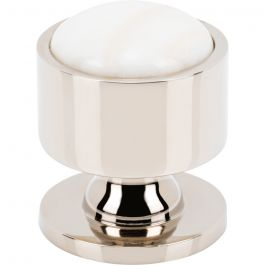 Firesky Calacatta Gold Knob 1 1/8 Inch Polished Nickel Base