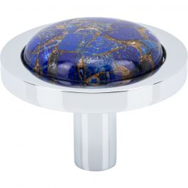 FireSky Mohave Lapis Knob 1 9/16 Inch Polished Chrome Base
