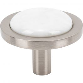 FireSky Carrara White Knob 1 9/16 Inch Brushed Satin Nickel Base