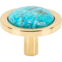 Firesky Mohave Turquoise Knob 1 9/16 Inch Polished Brass Base