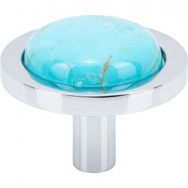 FireSky Mohave Turquoise Knob 1 9/16 Inch Polished Chrome Base