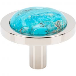 Firesky Mohave Turquoise Knob 1 9/16 Inch Polished Nickel Base