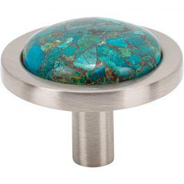 FireSky Mohave Blue Knob 1 9/16 Inch Brushed Satin Nickel Base